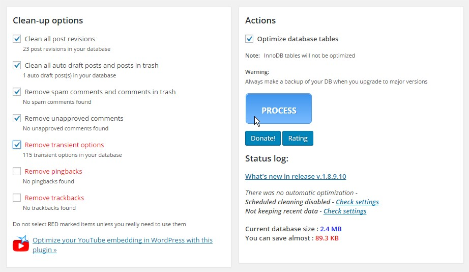 WP-Optimize ‹ KLEO — WordPress - Google Chrome