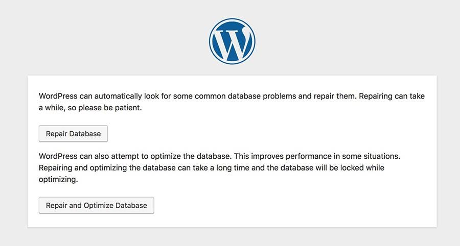 Repair WordPress database - common errors