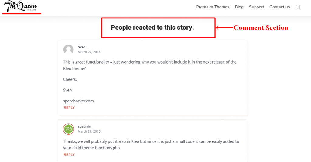 How Comments appear in WordPress page or article using Typer theme